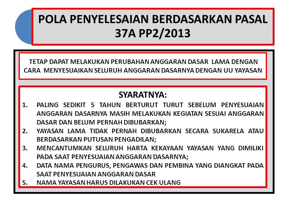POLA PENYELESAIAN BERDASARKAN PASAL 37A PP2/2013 TETAP DAPAT MELAKUKAN PERUBAHAN ANGGARAN DASAR LAMA DENGAN CARA MENYESUAIKAN SELURUH ANGGARAN DASARNY