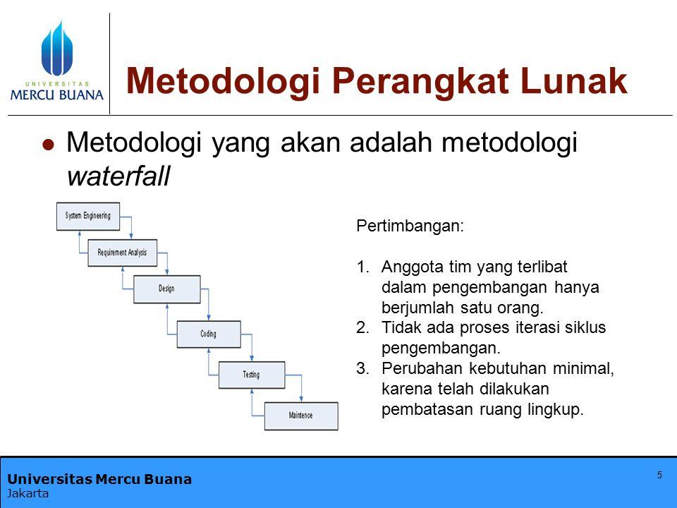 Universitas Mercu Buana Jakarta 5 Metodologi Perangkat Lunak Metodologi yang akan adalah metodologi waterfall Pertimbangan: 1.Anggota tim yang terliba
