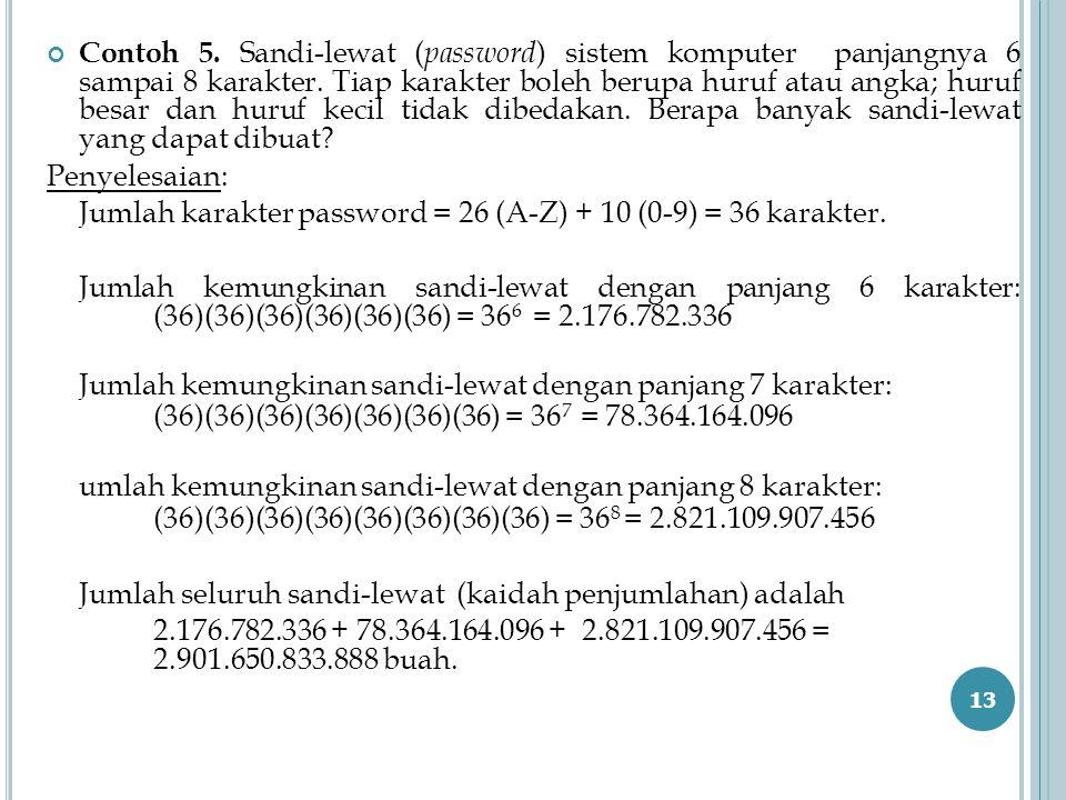 Contoh 5. Sandi-lewat ( password ) sistem komputer panjangnya 6 sampai 8 karakter. Tiap karakter boleh berupa huruf atau angka; huruf besar dan huruf