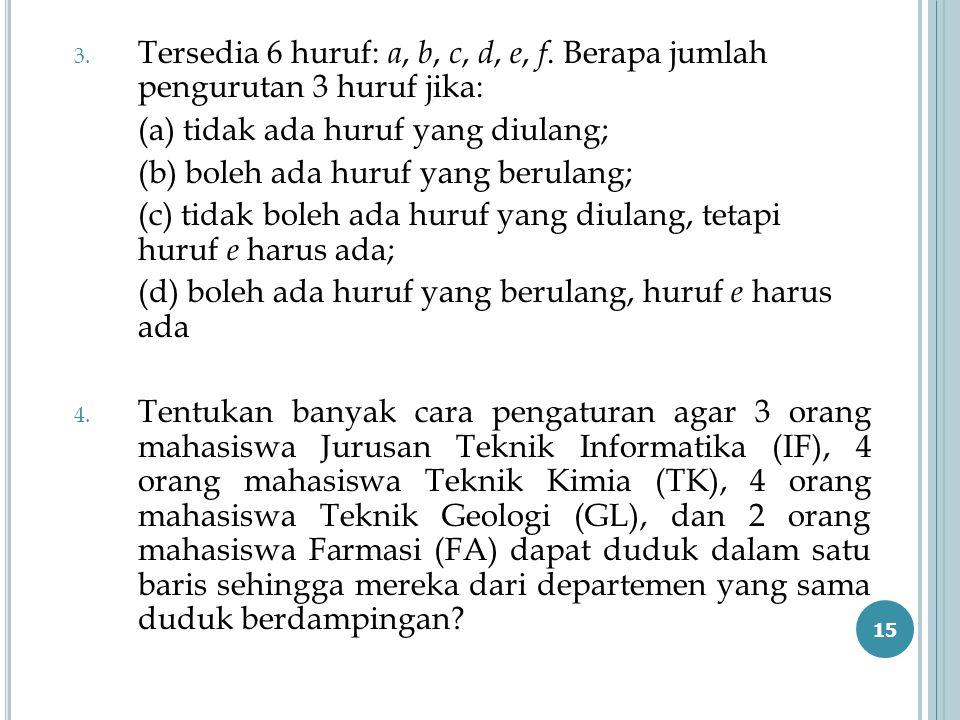 3. Tersedia 6 huruf: a, b, c, d, e, f. Berapa jumlah pengurutan 3 huruf jika: (a) tidak ada huruf yang diulang; (b) boleh ada huruf yang berulang; (c)