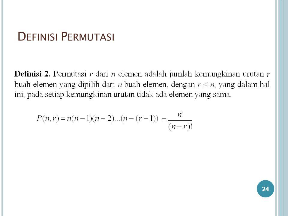 D EFINISI P ERMUTASI 24