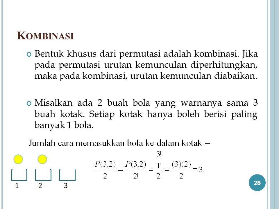 K OMBINASI Bentuk khusus dari permutasi adalah kombinasi. Jika pada permutasi urutan kemunculan diperhitungkan, maka pada kombinasi, urutan kemunculan