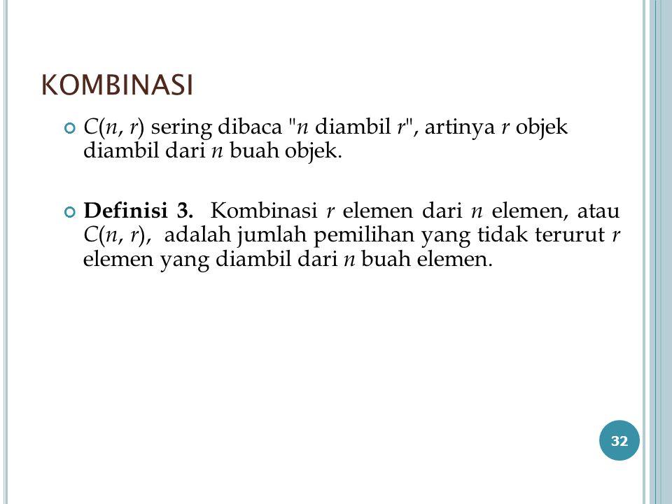 KOMBINASI C ( n, r ) sering dibaca