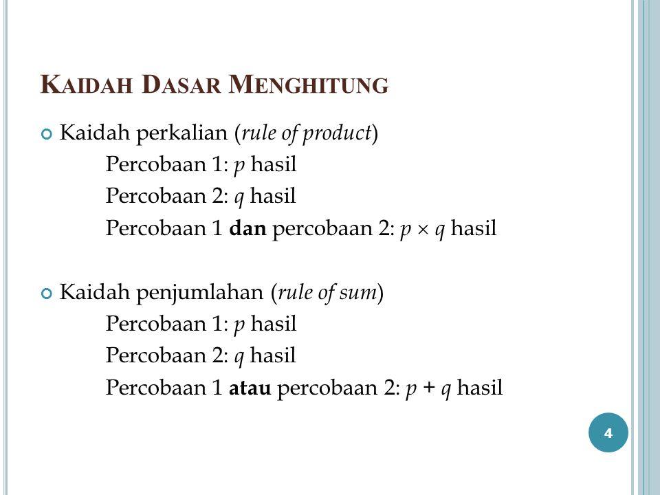K AIDAH D ASAR M ENGHITUNG Kaidah perkalian ( rule of product ) Percobaan 1: p hasil Percobaan 2: q hasil Percobaan 1 dan percobaan 2: p  q hasil Kai