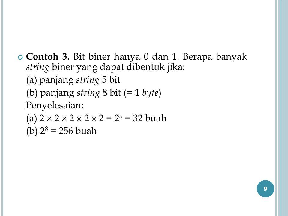 Contoh 3. Bit biner hanya 0 dan 1. Berapa banyak string biner yang dapat dibentuk jika: (a) panjang string 5 bit (b) panjang string 8 bit (= 1 byte )