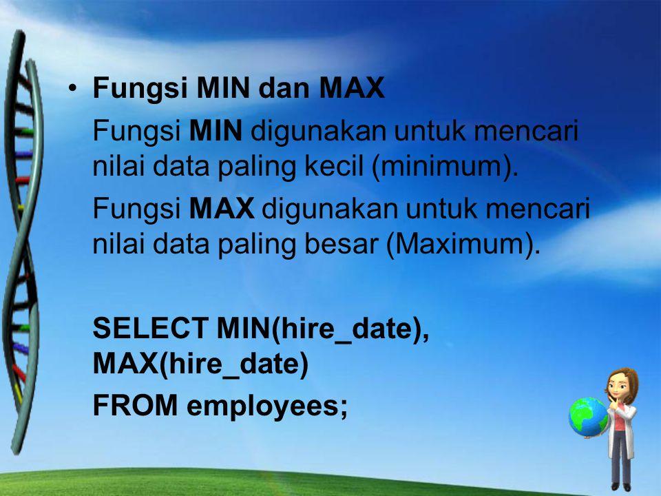 Fungsi MIN dan MAX Fungsi MIN digunakan untuk mencari nilai data paling kecil (minimum). Fungsi MAX digunakan untuk mencari nilai data paling besar (M