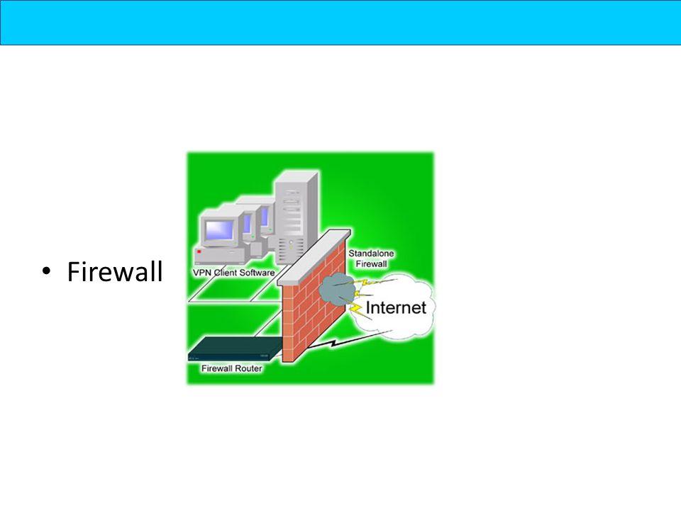 Konsep Firewall salah satu lapisan pertahanan yang mengatur hubungan komputer dengan dunia luar melalui interogasi setiap traffic, packet, dan port-port yang diatur dengan rule-rule yang ada Dilakukan dengan cara : – Menyaring – membatasi – menolak hubungan /kegiatan suatu segmen pada jaringan pribadi dengan jaringan luar yang bukan merupakan ruang lingkupnya