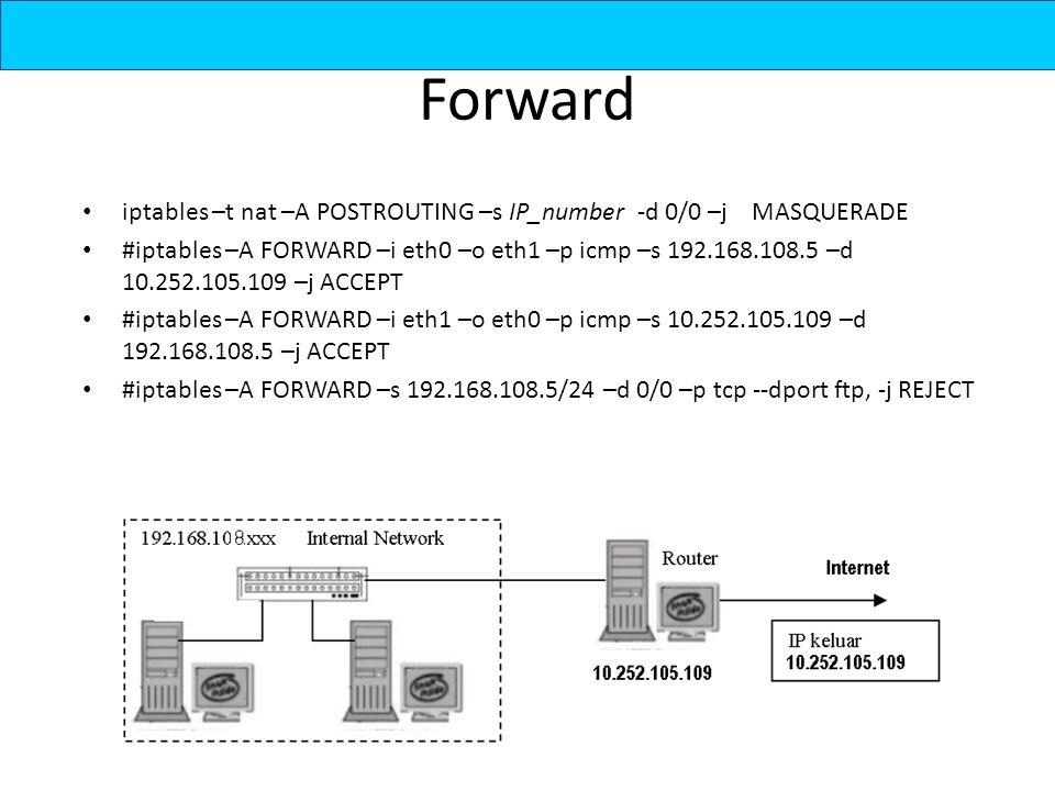 Forward iptables –t nat –A POSTROUTING –s IP_number -d 0/0 –j MASQUERADE #iptables –A FORWARD –i eth0 –o eth1 –p icmp –s 192.168.108.5 –d 10.252.105.109 –j ACCEPT #iptables –A FORWARD –i eth1 –o eth0 –p icmp –s 10.252.105.109 –d 192.168.108.5 –j ACCEPT #iptables –A FORWARD –s 192.168.108.5/24 –d 0/0 –p tcp --dport ftp, -j REJECT