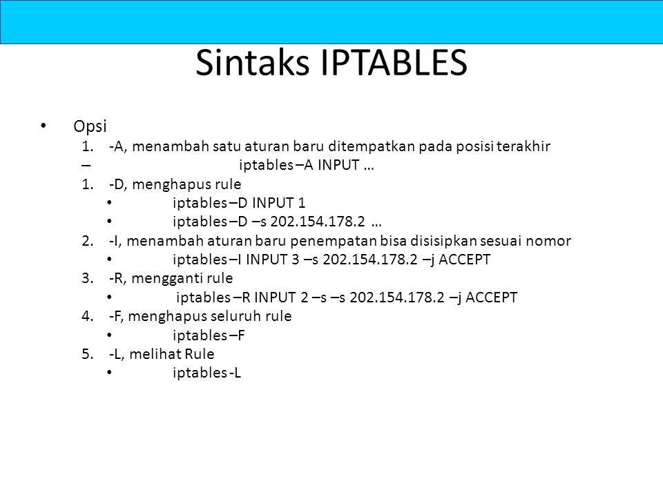 Sintaks IPTABLES Opsi 1.-A, menambah satu aturan baru ditempatkan pada posisi terakhir – iptables –A INPUT … 1.-D, menghapus rule iptables –D INPUT 1