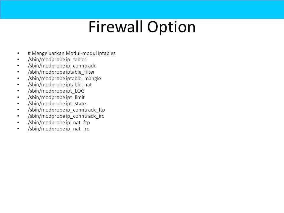 Firewall Option # Mengeluarkan Modul-modul Iptables /sbin/modprobe ip_tables /sbin/modprobe ip_conntrack /sbin/modprobe iptable_filter /sbin/modprobe