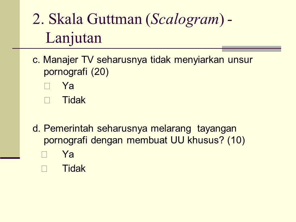 2. Skala Guttman (Scalogram) - Lanjutan c. Manajer TV seharusnya tidak menyiarkan unsur pornografi (20)  Ya  Tidak d.Pemerintah seharusnya melarang