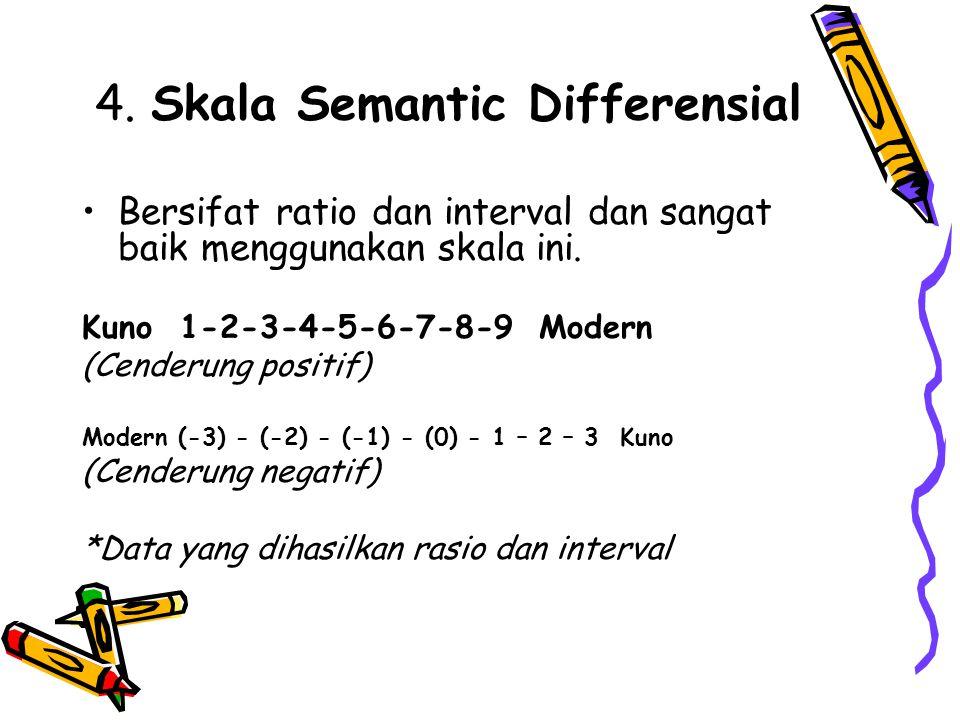 4. Skala Semantic Differensial Bersifat ratio dan interval dan sangat baik menggunakan skala ini. Kuno 1-2-3-4-5-6-7-8-9 Modern (Cenderung positif) Mo