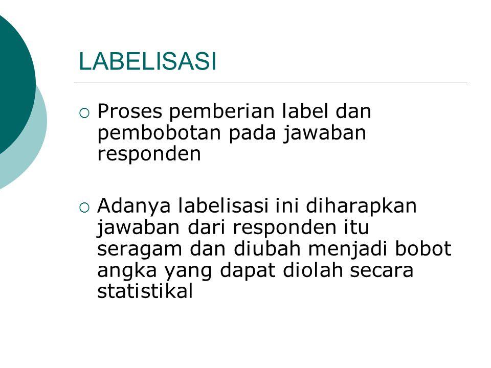 LABELISASI  Proses pemberian label dan pembobotan pada jawaban responden  Adanya labelisasi ini diharapkan jawaban dari responden itu seragam dan di
