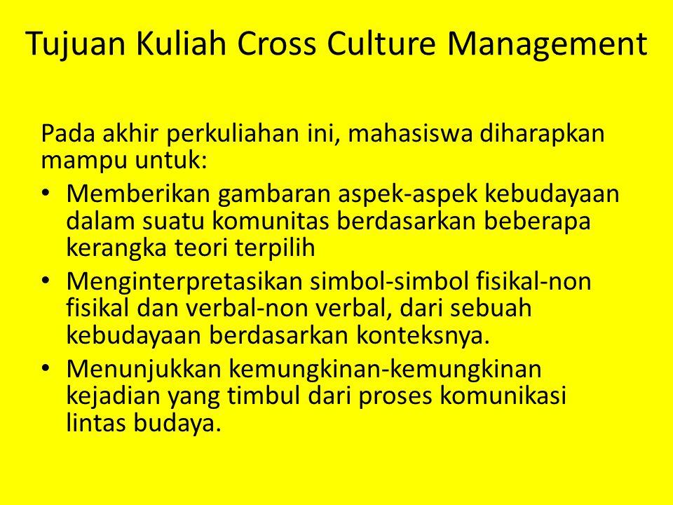 Tujuan Kuliah Cross Culture Management Pada akhir perkuliahan ini, mahasiswa diharapkan mampu untuk: Memberikan gambaran aspek-aspek kebudayaan dalam