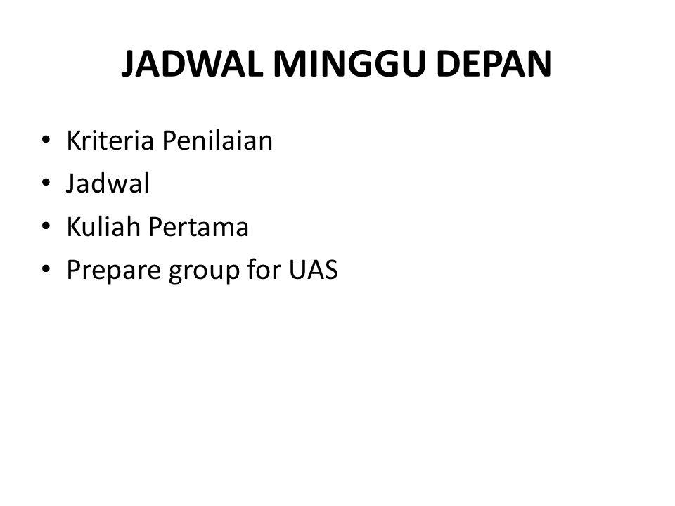 JADWAL MINGGU DEPAN Kriteria Penilaian Jadwal Kuliah Pertama Prepare group for UAS