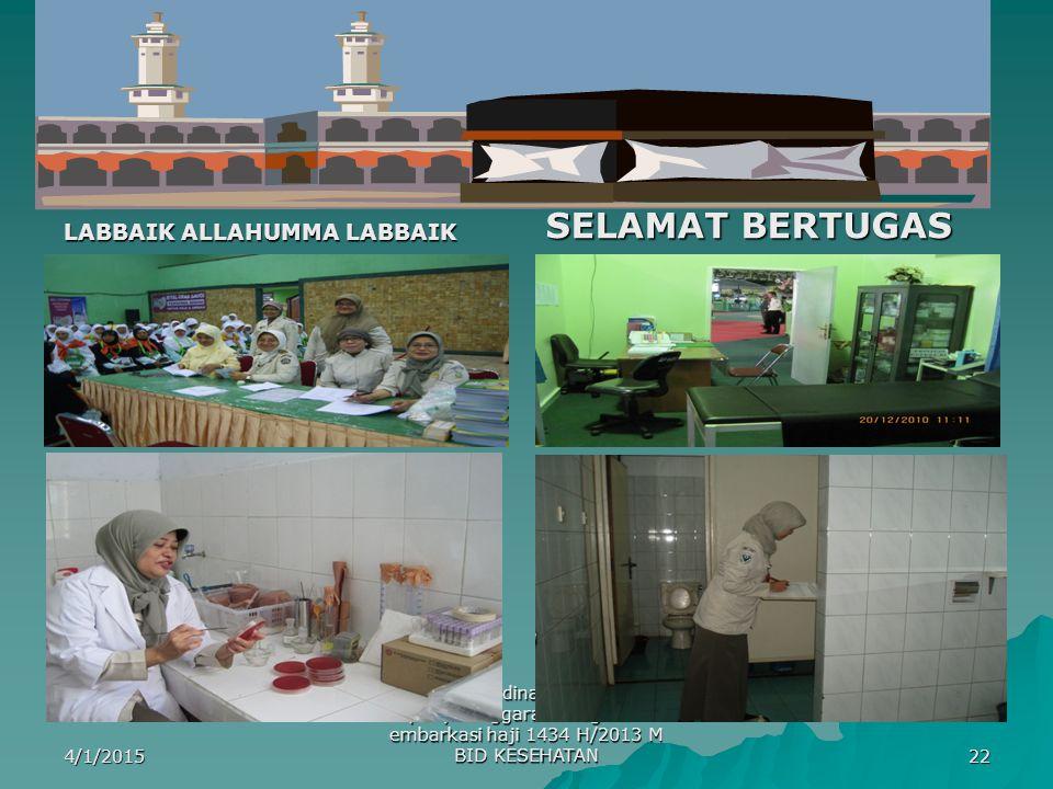 LABBAIK ALLAHUMMA LABBAIK SELAMAT BERTUGAS 4/1/2015 rapat koordinasi persiapan penyelenggaraan kegiatan embarkasi haji 1434 H/2013 M BID KESEHATAN 22