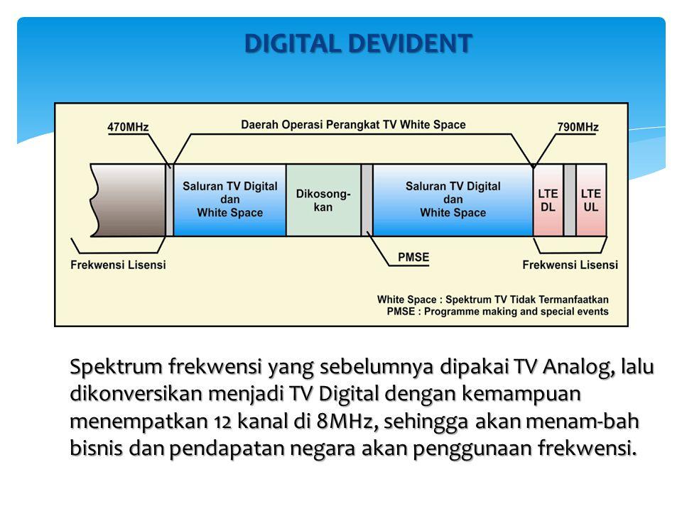 DIGITAL DEVIDENT Spektrum frekwensi yang sebelumnya dipakai TV Analog, lalu dikonversikan menjadi TV Digital dengan kemampuan menempatkan 12 kanal di