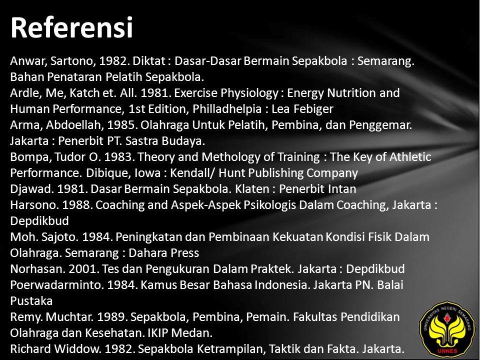 Referensi Anwar, Sartono, 1982. Diktat : Dasar-Dasar Bermain Sepakbola : Semarang.