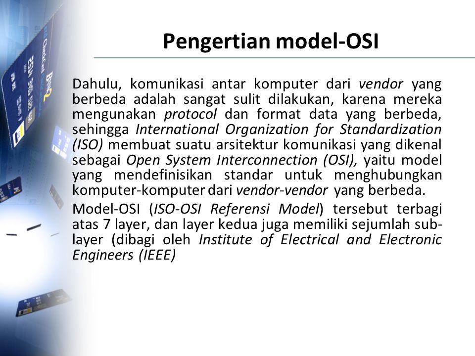 Pengertian model-OSI Dahulu, komunikasi antar komputer dari vendor yang berbeda adalah sangat sulit dilakukan, karena mereka mengunakan protocol dan f