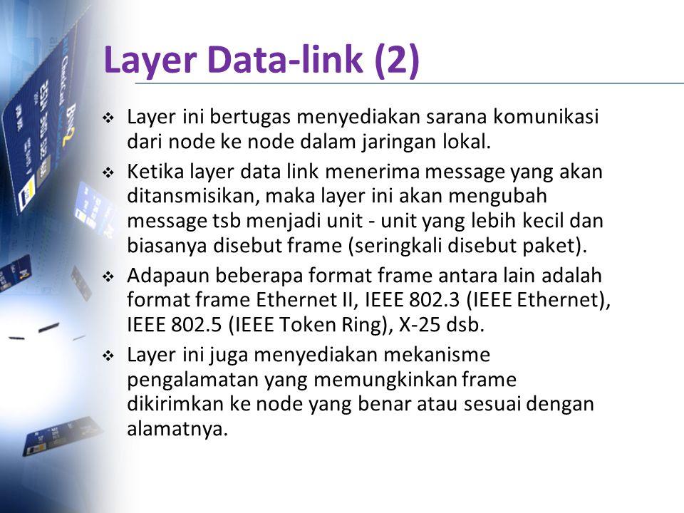  Layer ini bertugas menyediakan sarana komunikasi dari node ke node dalam jaringan lokal.  Ketika layer data link menerima message yang akan ditansm