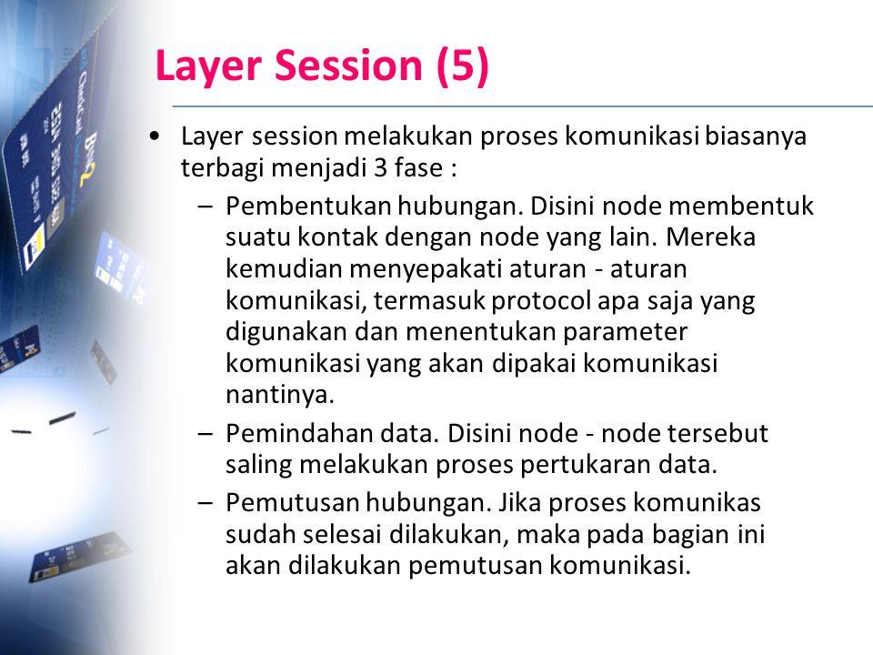 Layer Session (5) Layer session melakukan proses komunikasi biasanya terbagi menjadi 3 fase : –Pembentukan hubungan. Disini node membentuk suatu konta