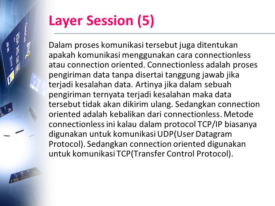 Layer Session (5) Dalam proses komunikasi tersebut juga ditentukan apakah komunikasi menggunakan cara connectionless atau connection oriented. Connect