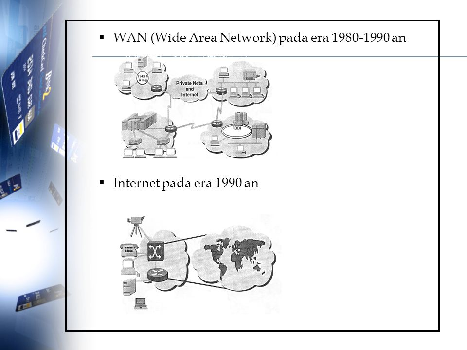  WAN (Wide Area Network) pada era 1980-1990 an  Internet pada era 1990 an