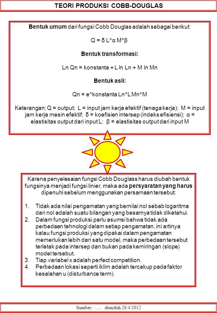TEORI PRODUKSI COBB-DOUGLAS Sumber: ….. diunduh 28/4/2012 Bentuk umum dari fungsi Cobb Douglas adalah sebagai berikut: Q = δ L^α M^β Bentuk transforma