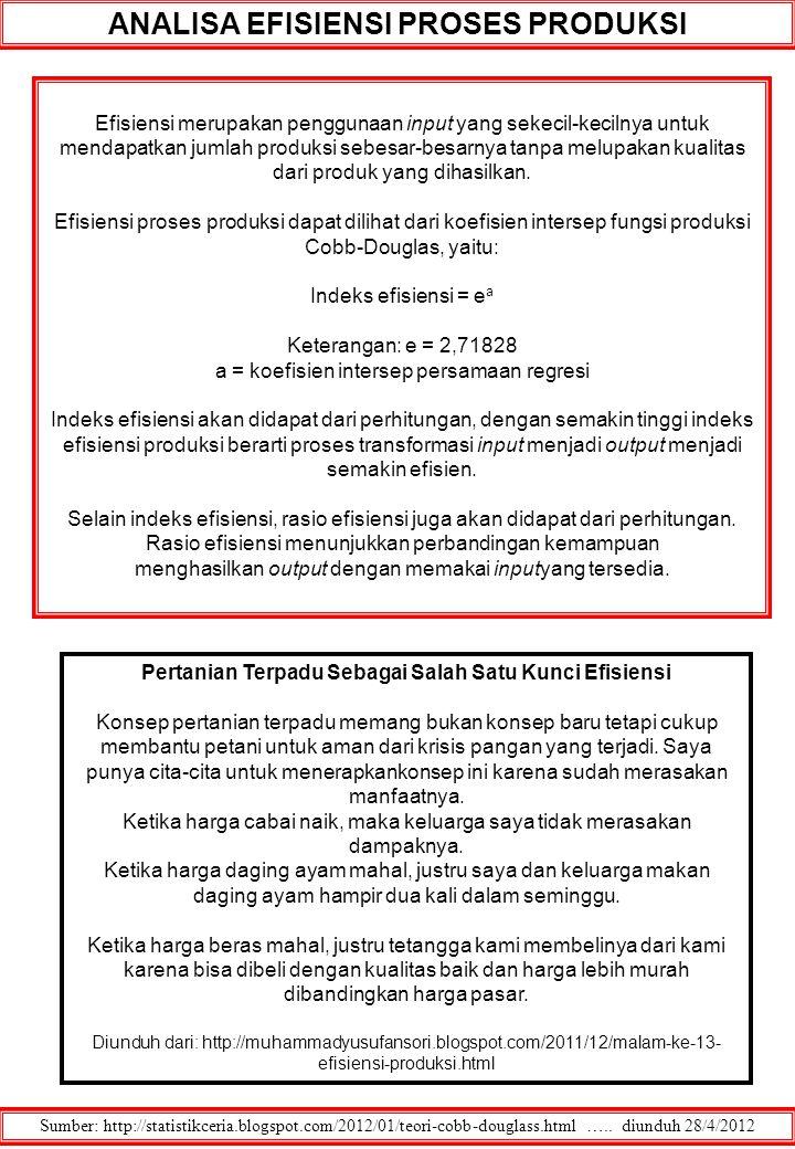 ANALISA EFISIENSI PROSES PRODUKSI Sumber: http://statistikceria.blogspot.com/2012/01/teori-cobb-douglass.html ….. diunduh 28/4/2012 Efisiensi merupaka