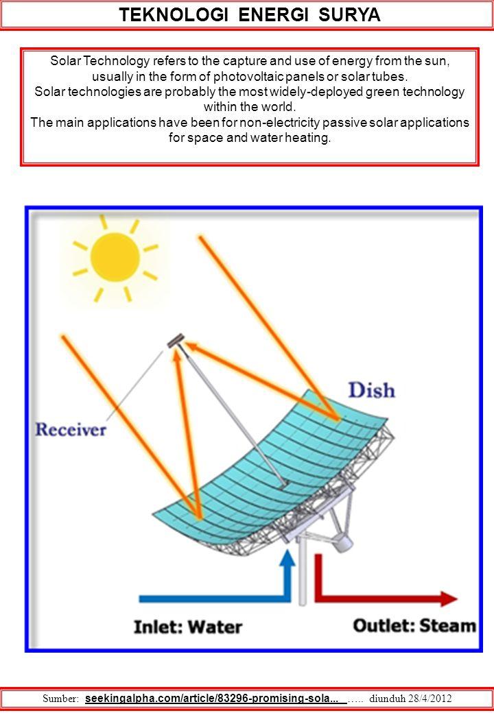 TEKNOLOGI ENERGI SURYA Sumber: seekingalpha.com/article/83296-promising-sola... ….. diunduh 28/4/2012 Solar Technology refers to the capture and use o