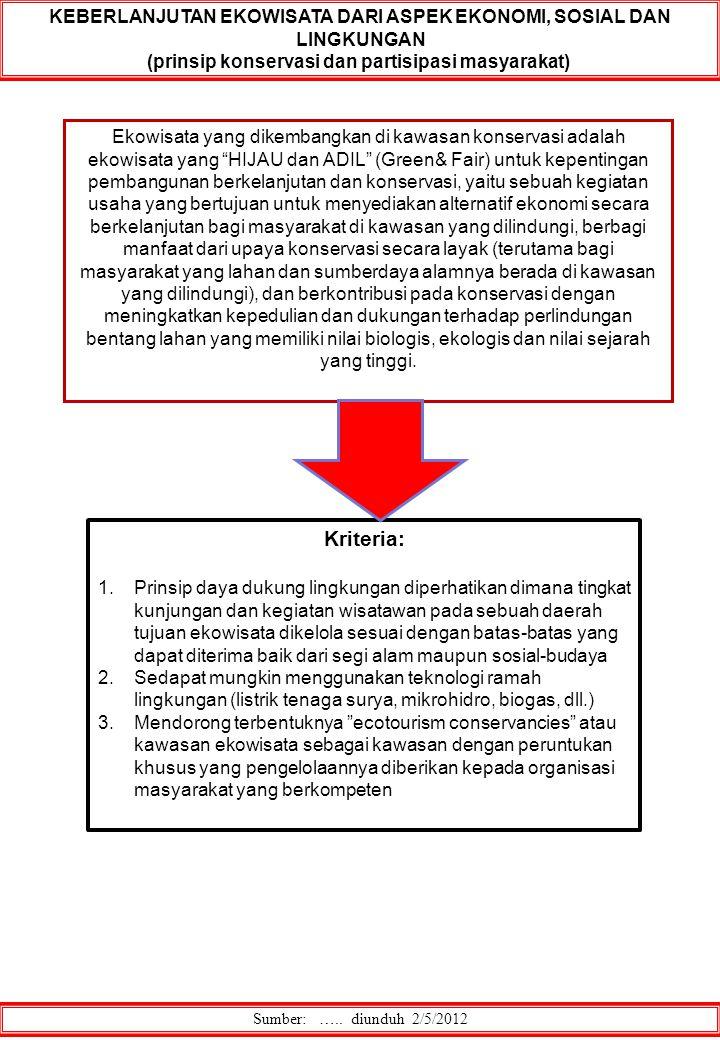 Sumber: ….. diunduh 2/5/2012 KEBERLANJUTAN EKOWISATA DARI ASPEK EKONOMI, SOSIAL DAN LINGKUNGAN (prinsip konservasi dan partisipasi masyarakat) Ekowisa