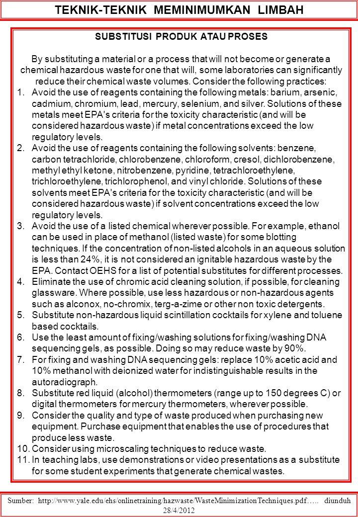 TEKNIK-TEKNIK MEMINIMUMKAN LIMBAH Sumber: http://www.yale.edu/ehs/onlinetraining/hazwaste/WasteMinimizationTechniques.pdf….. diunduh 28/4/2012 SUBSTIT