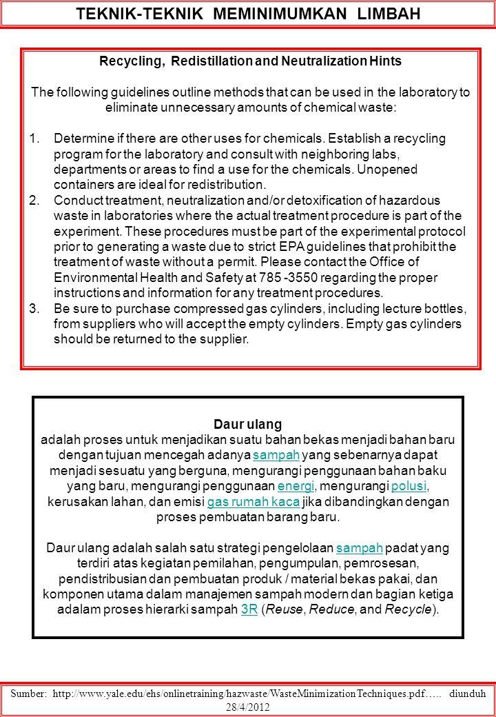 Sumber: http://www.yale.edu/ehs/onlinetraining/hazwaste/WasteMinimizationTechniques.pdf….. diunduh 28/4/2012 Recycling, Redistillation and Neutralizat