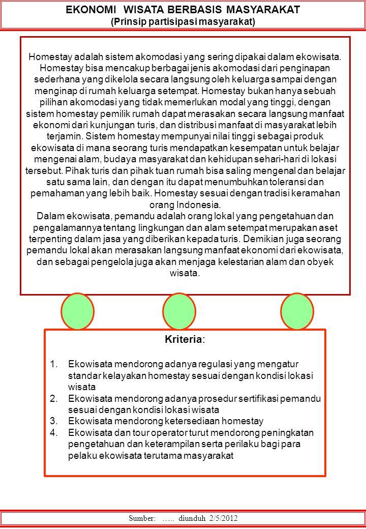 Sumber: ….. diunduh 2/5/2012 EKONOMI WISATA BERBASIS MASYARAKAT (Prinsip partisipasi masyarakat) Homestay adalah sistem akomodasi yang sering dipakai