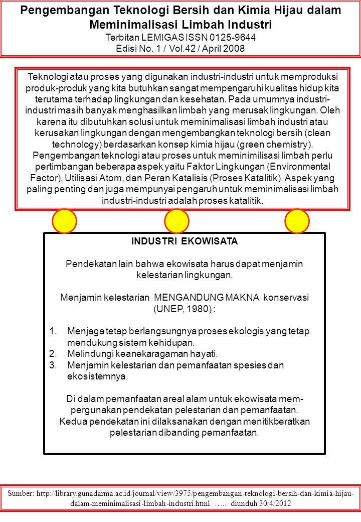 Pengembangan Teknologi Bersih dan Kimia Hijau dalam Meminimalisasi Limbah Industri Terbitan LEMIGAS ISSN 0125-9644 Edisi No. 1 / Vol.42 / April 2008 S