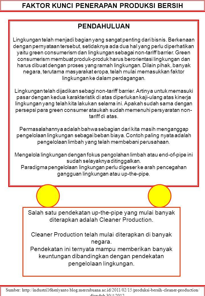 FAKTOR KUNCI PENERAPAN PRODUKSI BERSIH Sumber: http://industri16heriyanto.blog.mercubuana.ac.id/2011/02/15/produksi-bersih-cleaner-production/ ….. diu