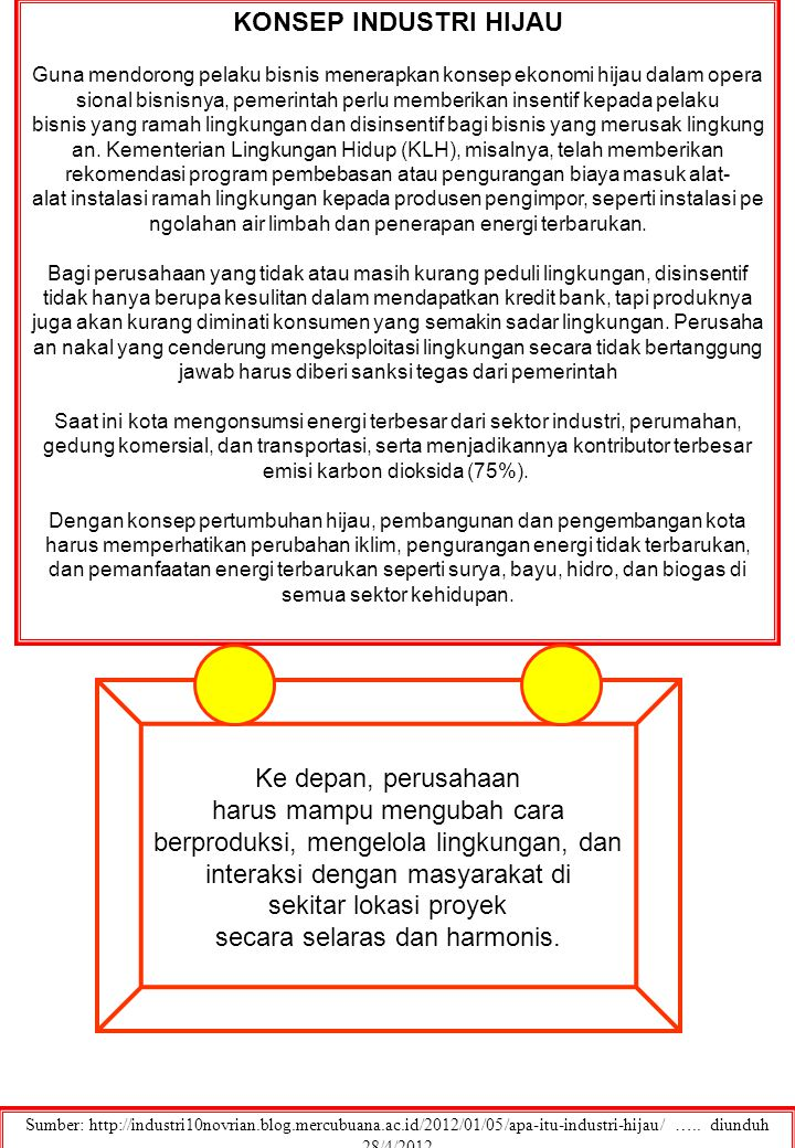MENUJU INDUSTRI HIJAU Sumber: http://ahmadi74.wordpress.com/2012/04/05/industri-hijau-mengapa-tidak/…..