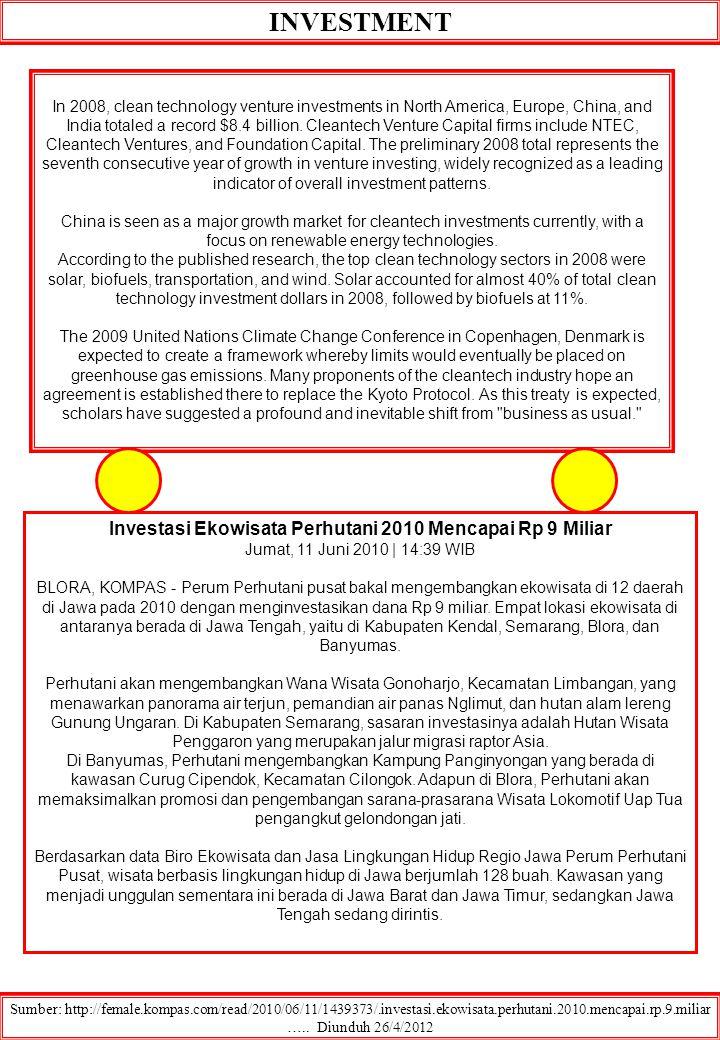 INVESTMENT Sumber: http://female.kompas.com/read/2010/06/11/1439373/.investasi.ekowisata.perhutani.2010.mencapai.rp.9.miliar ….. Diunduh 26/4/2012 In