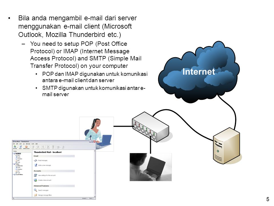 5 Bila anda mengambil e-mail dari server menggunakan e-mail client (Microsoft Outlook, Mozilla Thunderbird etc.) –You need to setup POP (Post Office P