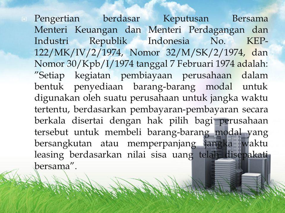  Keputusan Menteri Keuangan Nomor 1169/KMK.01/1991 tentang Kegiatan Sewa Guna Usaha (Leasing).