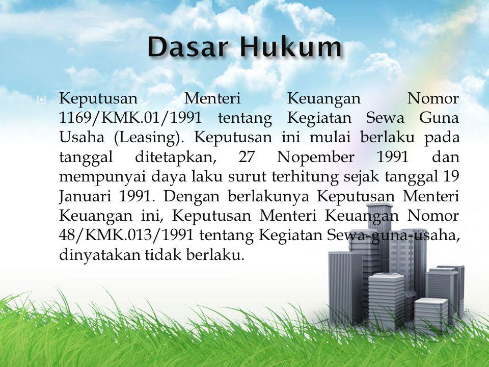  Keputusan Menteri Keuangan Nomor 1169/KMK.01/1991 tentang Kegiatan Sewa Guna Usaha (Leasing). Keputusan ini mulai berlaku pada tanggal ditetapkan, 2