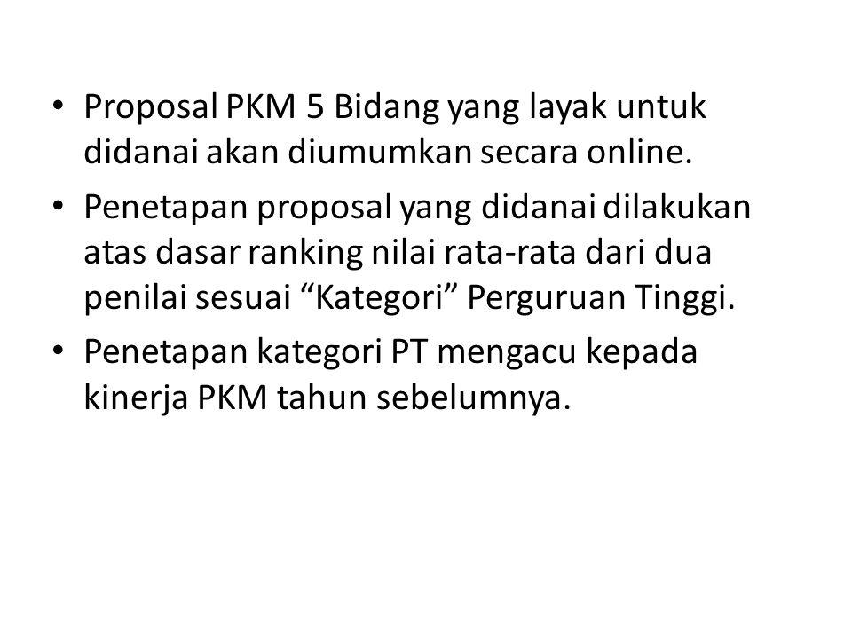 Proposal PKM 5 Bidang yang layak untuk didanai akan diumumkan secara online. Penetapan proposal yang didanai dilakukan atas dasar ranking nilai rata-r