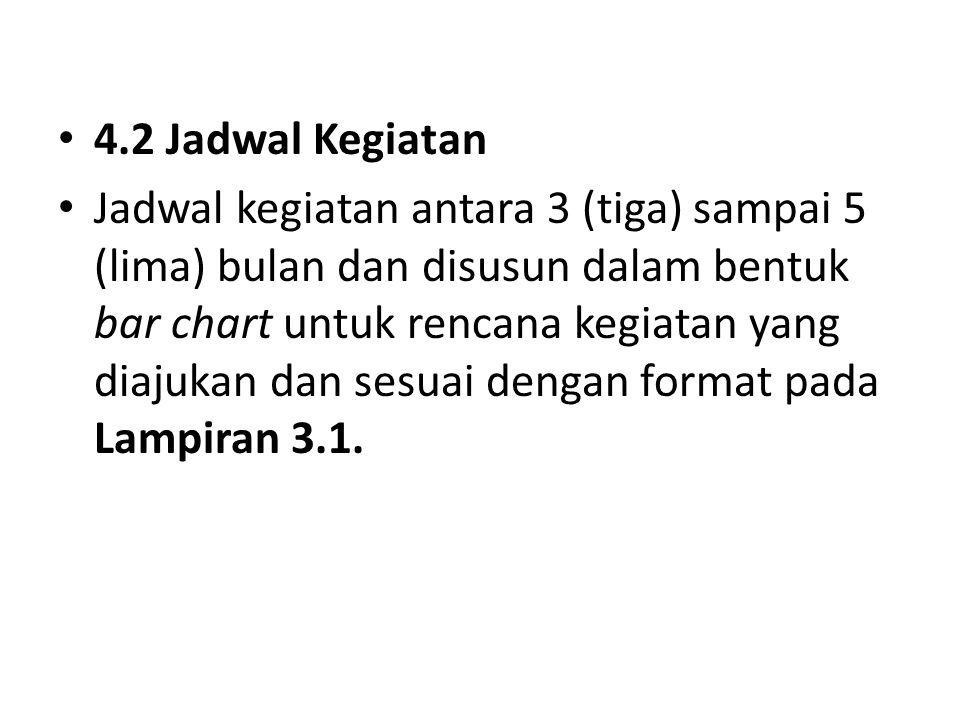 4.2 Jadwal Kegiatan Jadwal kegiatan antara 3 (tiga) sampai 5 (lima) bulan dan disusun dalam bentuk bar chart untuk rencana kegiatan yang diajukan dan sesuai dengan format pada Lampiran 3.1.