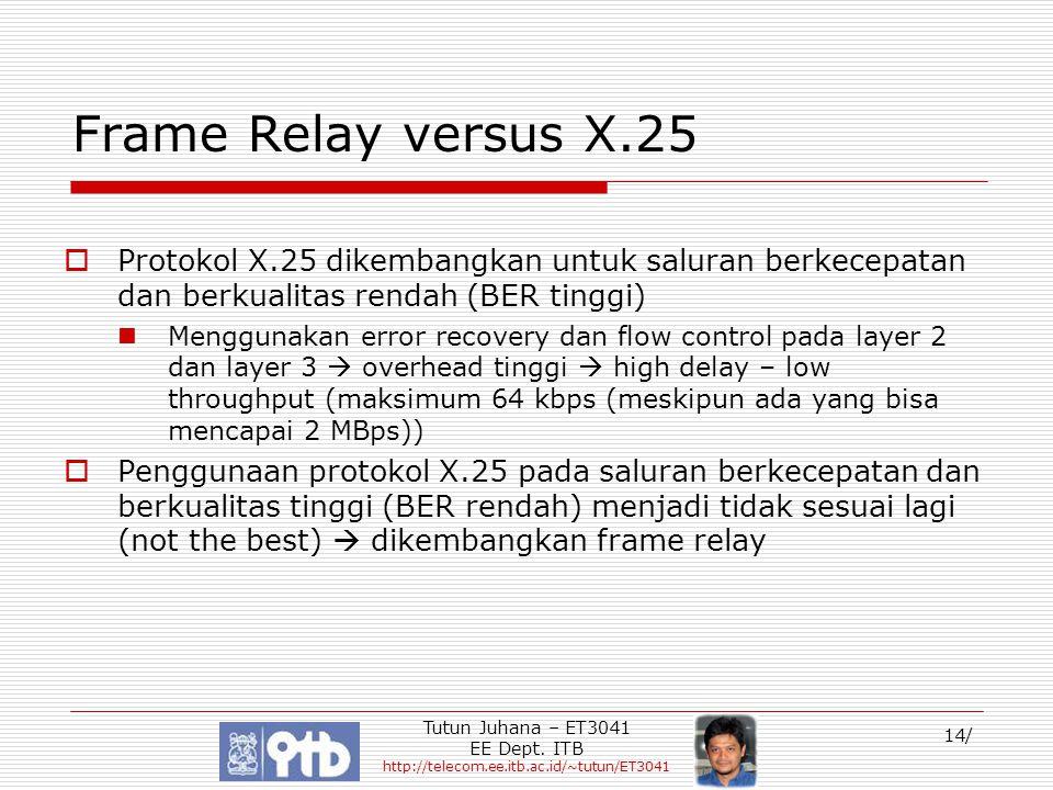 Tutun Juhana – ET3041 EE Dept. ITB http://telecom.ee.itb.ac.id/~tutun/ET3041 14/ Frame Relay versus X.25  Protokol X.25 dikembangkan untuk saluran be