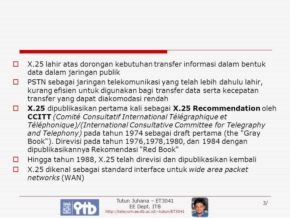 Tutun Juhana – ET3041 EE Dept. ITB http://telecom.ee.itb.ac.id/~tutun/ET3041 3/  X.25 lahir atas dorongan kebutuhan transfer informasi dalam bentuk d