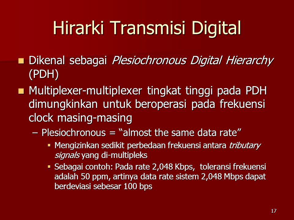 17 Hirarki Transmisi Digital Dikenal sebagai Plesiochronous Digital Hierarchy (PDH) Dikenal sebagai Plesiochronous Digital Hierarchy (PDH) Multiplexer