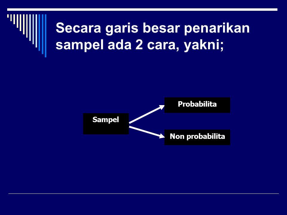Secara garis besar penarikan sampel ada 2 cara, yakni; Sampel Non probabilita Probabilita