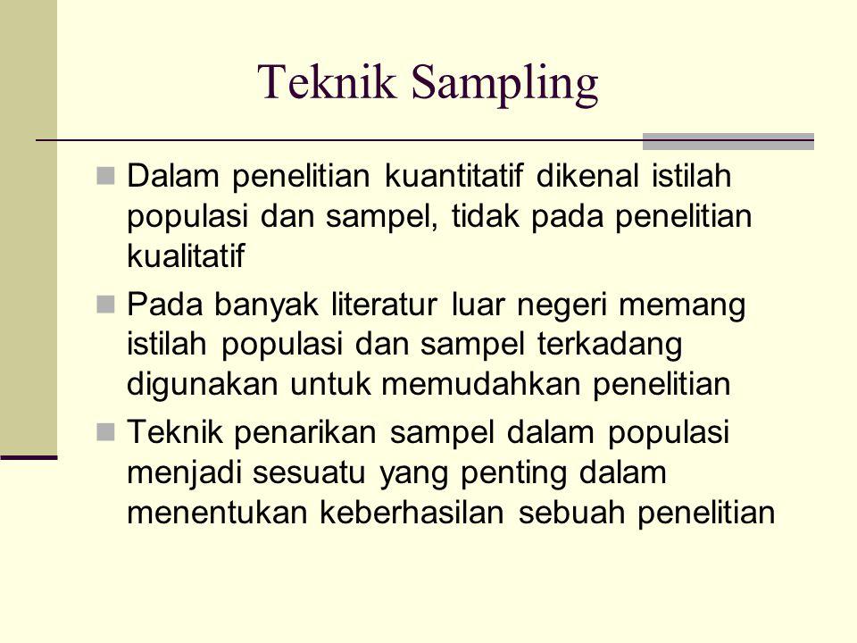 Teknik Sampling Dalam penelitian kuantitatif dikenal istilah populasi dan sampel, tidak pada penelitian kualitatif Pada banyak literatur luar negeri memang istilah populasi dan sampel terkadang digunakan untuk memudahkan penelitian Teknik penarikan sampel dalam populasi menjadi sesuatu yang penting dalam menentukan keberhasilan sebuah penelitian