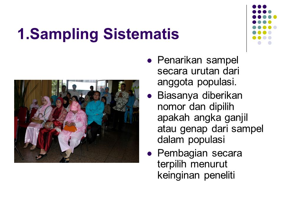 1.Sampling Sistematis Penarikan sampel secara urutan dari anggota populasi.