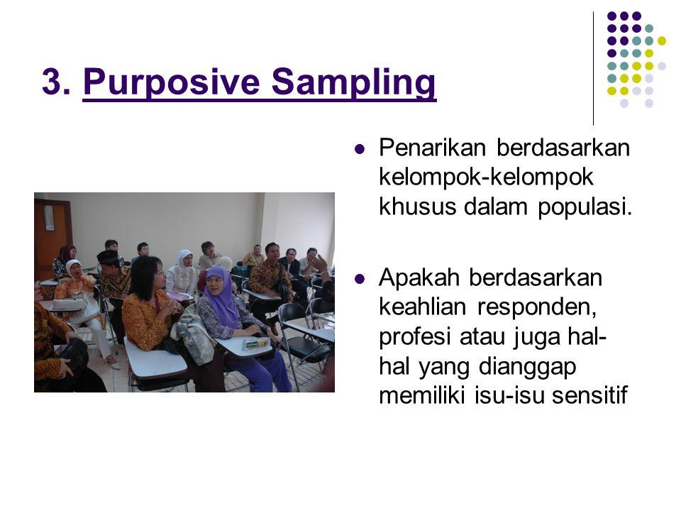 3.Purposive Sampling Penarikan berdasarkan kelompok-kelompok khusus dalam populasi.